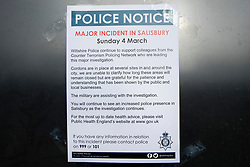 © Licensed to London News Pictures. 20/03/2018. Salisbury, UK. A note from the police explaining the events of March 4,  is placed at The Mill pub as police continue their investigation after former Russian spy Sergei Skripal and his daughter Yulia were poisoned with nerve agent. The couple where found unconscious on bench in Salisbury shopping centre. A policeman who went to their aid is currently recovering in hospital. Photo credit: Peter Macdiarmid/LNP