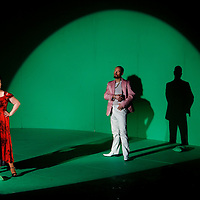 Picture shows : Karen Cargill as Isabella and Paul Carey Jones as Haly..Picture  ©  Drew Farrell Tel : 07721 -735041..A new Scottish Opera production of  Rossini's 'The Italian Girl in Algiers' opens at The Theatre Royal Glasgow on Wednesday 21st October 2009..(Soap) opera as you've never seen it before..Tonight on Algiers.....Colin McColl's cheeky take on Rossini's comic opera is a riot of bunny girls, beach balls, and small screen heroes with big screen egos. Set in a TV studio during the filming of popular Latino soap, Algiers, the show pits Rossini's typically playful and lyrical music against the shoreline shenanigans of cast and crew. You'd think the scandal would be confined to the outrageous storylines, but there's as much action off set as there is on.... .Italian bass Tiziano Bracci makes his UK debut in the role of Mustafa. Scottish mezzo-soprano Karen Cargill, who the Guardian called a 'bright star' for her performance as Rosina in Scottish Opera's 2007 production of The Barber of Seville, sings Isabella. .Cast .Mustafa...Tiziano Bracci.Isabella..Karen Cargill.Lindoro...Thomas Walker.Elvira...Mary O'Sullivan.Zulma...Julia Riley.Haly...Paul Carey Jones.Taddeo...Adrian Powter. .Conductors.Wyn Davies.Derek Clarke (Nov 14). .Director by Colin McColl.Set and Lighting Designer by Tony Rabbit.Costume Designer by Nic Smillie..New co-production with New Zealand Opera.Production supported by.The Scottish Opera Syndicate.Sung in Italian with English supertitles..Performances.Theatre Royal, Glasgow - October 21, 25,29,31..Eden Court, Inverness - November 7. .His Majesty's Theatre, Aberdeen  - November 14..Festival Theatre,Edinburgh - November 21, 25, 27 ...Note to Editors:  This image is free to be used editorially in the promotion of Scottish Opera. Without prejudice ALL other licences without prior consent will be deemed a breach of copyright under the 1988. Copyright Design and Patents Act  and will be subject to payment or legal action, where appropriate..Furthe