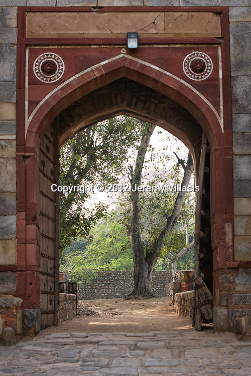 Arched gateway to Humayun's Tomb in New Delhi, India.
