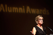 Barbara Allushiski makes a speech after being given the Distinguished Alumni Award at the College of Arts and Sciences Distinguished Alumni Awards Dinner and Ceremony on October 4, 2012..Photo by Chris Franz