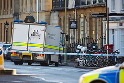 "© Licensed to London News Pictures.  13/02/2014. OXFORD, UK. Bomb disposal robot at the scene after a suspect package was received at the Army recruitment office in St Giles, Oxford. The package was one of seven received across the country in the last two days and has been described as ""crude but potentially viable with hallmarks of Northern Ireland-related terrorism. Photo credit: Cliff Hide/LNP"