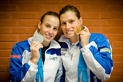 20.05.2012, Pieter van den Hoogenband Swimming Stadium, Eindhoven, NED, LEN, Turmspring Europameisterschaft 2012, Synchonspringen Damen 3 Meter Springbrett, im Bild Tania Cagnotto and Francesca Dallape' (ITA) gold medal // during Women's 3m springboard synchro - final of LEN Diving European Championships at Pieter van den Hoogenband Swimming Stadium, Eindhoven, Netherlands on 2012/05/20. EXPA Pictures © 2012, PhotoCredit: EXPA/ Insidefoto/ Giorgio Perottino..***** ATTENTION - for AUT, SLO, CRO, SRB, SUI and SWE only *****