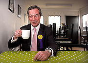 """Nigel Farage, MEP and UKIP Prospective Parliamentary Candidate for Buckingham pictured at Turweston Aerodrome prior to  flying over the constituency in a plane towing a banner containing the words 'Vote for your country - Vote UKIP'..Mr Farage said """"it is going to give me great pleasure to fly over Blair Towers whilst towing my banner' a reference to Tony Blair's country home."""