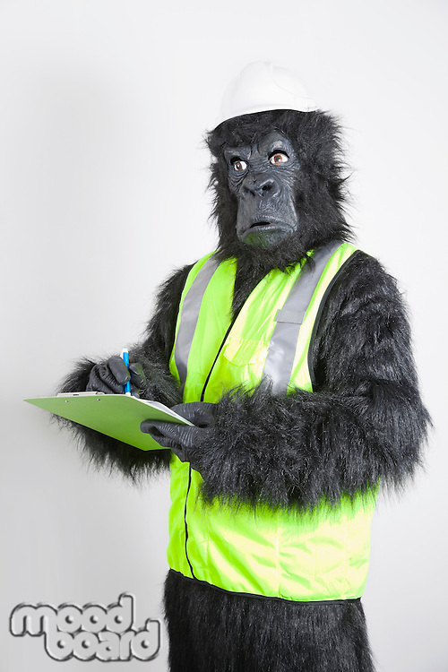 Young male engineer in gorilla costume and safety wear against white background