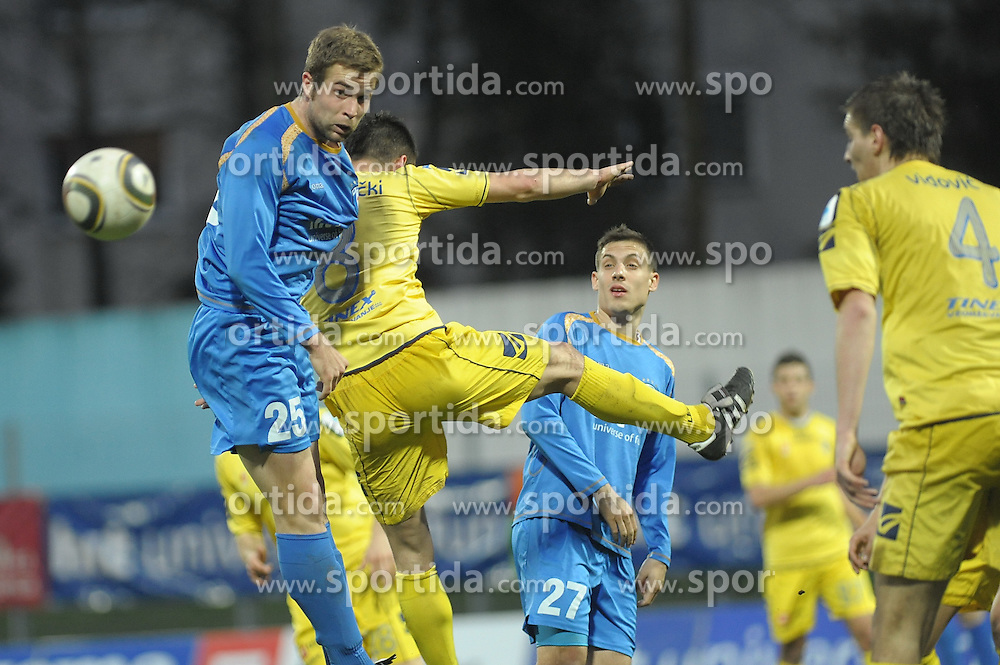 Ivan Brecevic(25) and Goran Cvijanovic (27) of Gorica at football match of 30th Round of 1st Slovenian League between NK Hit Gorica and Domzale, on April 10, 2010, in Sportni park, Nova Gorica, Slovenia. (Photo by Foto Forma/ Sportida)