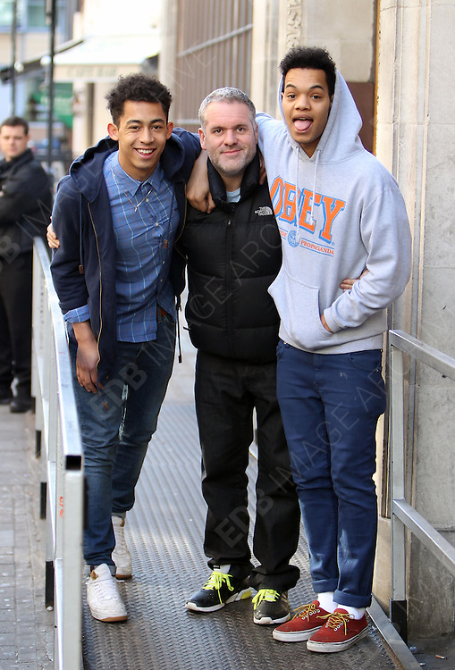 20.MARCH.2012. LONDON<br /> <br /> CHRIS MOYLES AND RIZZLE KICKS ARRIVING AT THE RADIO 1 STUDIOS IN LONDON<br /> <br /> BYLINE: EDBIMAGEARCHIVE.COM<br /> <br /> *THIS IMAGE IS STRICTLY FOR UK NEWSPAPERS AND MAGAZINES ONLY*<br /> *FOR WORLD WIDE SALES AND WEB USE PLEASE CONTACT EDBIMAGEARCHIVE - 0208 954 5968*