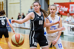 Merisa Dautovic of ZKK Maribor and Lara Kozina Bubnic of ZKK Triglav Kranj during basketball match between ZKK Triglav Kranj and ZKD Maribor in Round #1 of 1. Slovenian Woman basketball league, on February 20, 2018 in ŠD Planina, Kranj, Slovenia. Photo by Ziga Zupan / Sportida