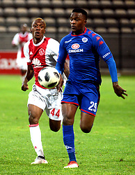 Cape Town 18-02-28 Ajax cape town player Yannick Zakri attacking while Supersport defender Morgan Gould trying to defender in the PSL Game In Athlone Staduim Pictures Ayanda Ndamane African news agency/ANA