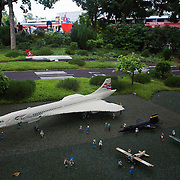 An airport with a British Airways Concorde plane amde out of Lego in Legoland, Denmark.
