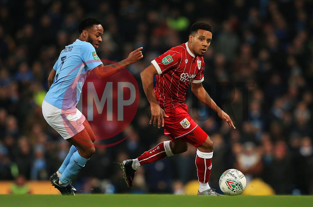Raheem Sterling of Manchester City takes on Raheem Sterling of Manchester City - Mandatory by-line: Matt McNulty/JMP - 09/01/2018 - FOOTBALL - Etihad Stadium - Manchester, England - Manchester City v Bristol City - Carabao Cup Semi-Final First Leg