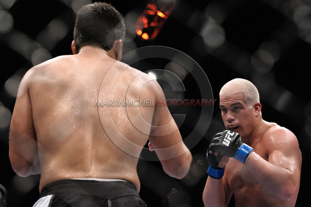 "LAS VEGAS, NEVADA, MAY 24, 2008: Lyoto Machida (left) and Tito Ortiz  during ""UFC 84: Ill Will"" inside the MGM Grand Garden Arena in Las Vegas"