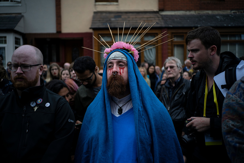 A protester against clerical sexual abuse dressed as the Virgin Mary in Dublin.