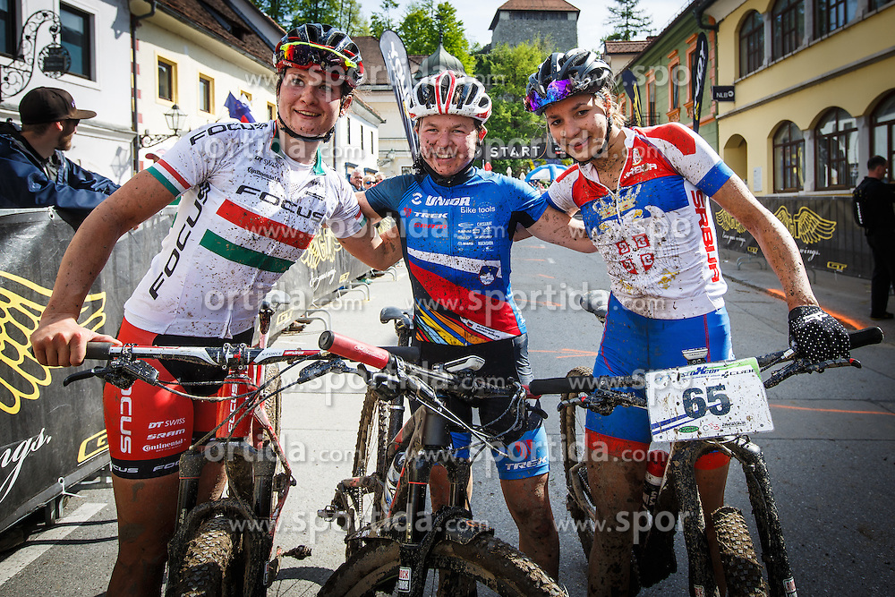 Tanja Zakelj and Barbara Benko of Slovenia and Jovana Crnogorac of Serbia during Cross Country XC Mountain bike race for Slovenian National Championship in Kamnik, on April 30, 2016 in Kamnik, Slovenia. Photo by Grega Valancic / Sportida