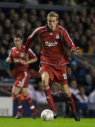 Liverpool, England - Wednesday, October 3, 2007: Liverpool's Peter Crouch in action against Olympique de Marseille during the UEFA Champions League Group A match at Anfield. (Photo by David Rawcliffe/Propaganda)