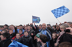 Westport supporters celebrate their semi-final victory in Ennis.<br />