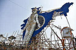 October 1, 2018 - Guwahati, India - Workers busy making a 72 feet height Puja Pandal in the theme of Bharat Mata at Bishnupur of Guwahati, Assam, India on Monday, October 1, 2018. Durga Puja is just round the corner and Guwahati is all decked up for the celebrations. Every year, the city brings out with some innovative Pandal themes. (Credit Image: © David Talukdar/NurPhoto/ZUMA Press)