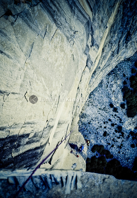 Looking down the face El Capitan in Yosemite, California on a route called The Zodiac.