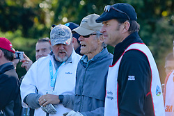 """Feb 6, 2019 Pebble Beach, Ca. USA TV, Film and singing stars that included Winners, CLINT EASTWOOD who's caddy was former golf pro, SIR NICK FALDO with LARRY THE CABLE GUY, whom played in the """"3M Celebrity Challenge"""" to try for part of the 100K purse to go to their favorite charity and win the Estwood-Murray cup, for which team Clint Eastwwod's group won.. The event took place during practice day of the PGA AT&T National Pro-Am golf on the Pebble Beach Golf Links. Photo by Dane Andrew c. 2019 contact: 408 744-9017  TenPressMedia@gmail.com"""