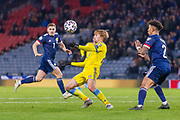 Maxim Fedin (#20) of Kazakhstan controls the ball on his chest during the UEFA European 2020 Qualifier match between Scotland and Kazakhstan at Hampden Park, Glasgow, United Kingdom on 19 November 2019.