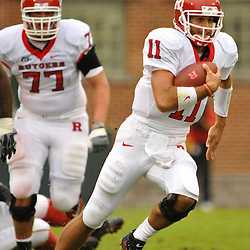 Sep 26, 2009; College Park, MD, USA; Rutgers quarterback Domenic Natale (11) scrambles for a first down during the first half of Rutgers' 34-13 victory over Maryland in NCAA college football at Byrd Stadium.
