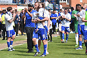 Bury Forward, Tom Pope leads the  Bury team around the  pitch during the Sky Bet League 1 match between Bury and Southend United at the JD Stadium, Bury, England on 8 May 2016. Photo by Mark Pollitt.