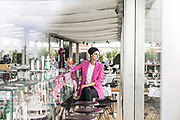 Milan, Helene Nonini, restaurant Bar Osteria con Vista, on top of the Triennale Milano, contemporary art and design museum. http://www.osteriaconvista.it/