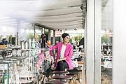 Milan, Helene Nonini, restaurant Bar Osteria con Vista, on top of the Triennale Milano, contemporary art and design museum. http://www.osteriaconvista.it/
