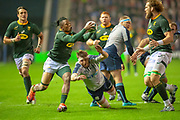 Sbu Nkosi (#14) (Cell C Sharks) of South Africa catches the ball during the Autumn Test match between Scotland and South Africa at the BT Murrayfield Stadium, Edinburgh, Scotland on 17 November 2018.