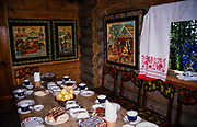 Inside tea house cafe at Dagomys Tea Plantation, Sochi, Russia 1997
