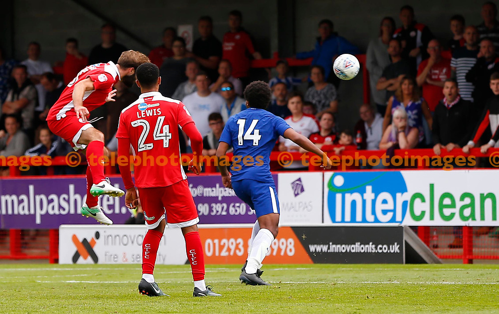 Joe McNerney of Crawley heads in the equaliser during the pre season friendly between Crawley Town and Chelsea XI at the Checkatrade Stadium in Crawley. 15 Jul 2017