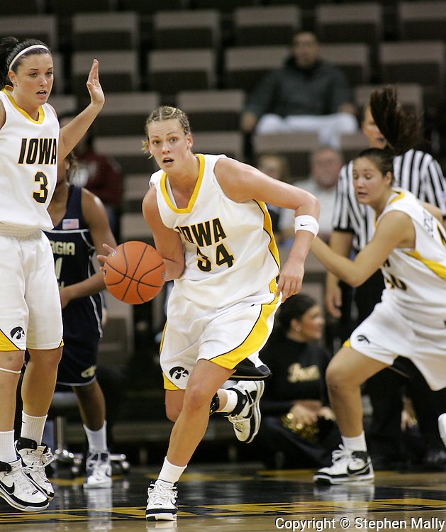 28 NOVEMBER 2007: Iowa forward Johanna Solverson (34) brings the ball down court in the first half of Georgia Tech's 76-57 win over Iowa in the Big Ten/ACC Challenge at Carver-Hawkeye Arena in Iowa City, Iowa on November 28, 2007.