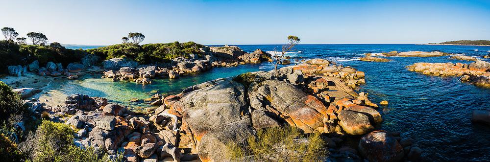 The colorful granite boulders at Binalong Bay, Bay of Fires, St. Helens, Tasmania
