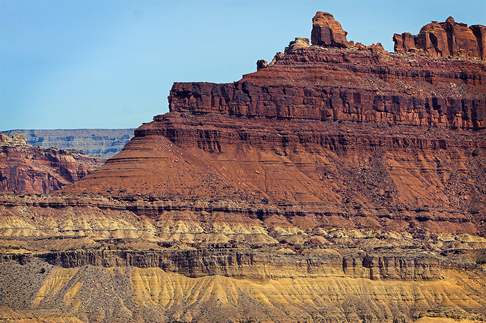Red Dragon Canyon, a scenic vista along Interstate Highway 70 in Central Utah, is home to tall red rock buttes such as this.