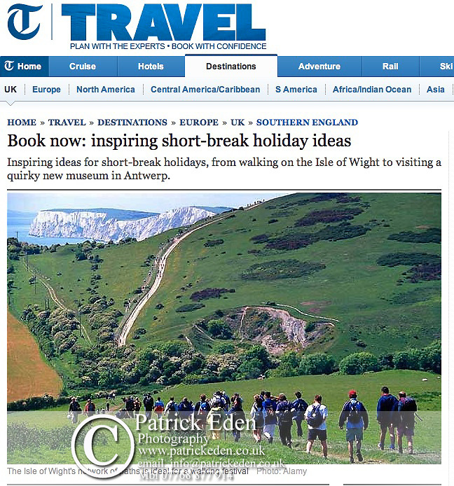 Isle of Wight Walking Festival, The Telegraph,  Published Photographs by Patrick Eden Photography