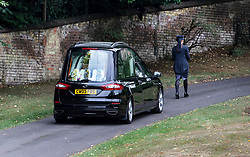 © Licensed to London News Pictures. 30/07/2018. Salisbury, UK. A hearse carrying the coffin arrives at Salisbury Crematorium for the funeral of Dawn Sturgess, who died on 8 July 2018 after exposure to the nerve agent Novichok. Special safety measures have been put in place to protect mourners attending the ceremony. Photo credit: Peter Macdiarmid/LNP