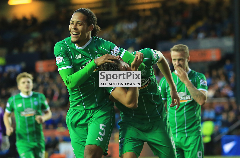 Celtic's Tomas Rogić  celebrates with  Virgil van Dijk after firing in an unstoppable shot to put celtic in front during the Kilmarnock FC V Glasgow Celtic FC Scottish Premiership 12th August 2015 ©Edward Linton | SportPix.org.uk