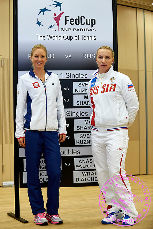 (L) Urszula Radwanska from Poland and (R) Svetlana Kuznetsova from Russia during official draw one day before the Fed Cup / World Group 1st round tennis match between Poland and Russia at Holiday Inn on February 6, 2015 in Cracow, Poland.<br /> <br /> Poland, Cracow, February 6, 2015<br /> <br /> Picture also available in RAW (NEF) or TIFF format on special request.<br /> <br /> For editorial use only. Any commercial or promotional use requires permission.<br /> <br /> Adam Nurkiewicz declares that he has no rights to the image of people at the photographs of his authorship.<br /> <br /> Mandatory credit:<br /> Photo by &copy; Adam Nurkiewicz / Mediasport