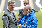 MK Dons manager Karl Robinson doing a radio interview with BBC during the Sky Bet Championship match between Milton Keynes Dons and Queens Park Rangers at stadium:mk, Milton Keynes, England on 5 March 2016. Photo by Dennis Goodwin.