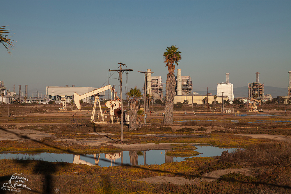 Oil pumpjacks in the Los Cerritos Wetlands, Long Beach, california, USA