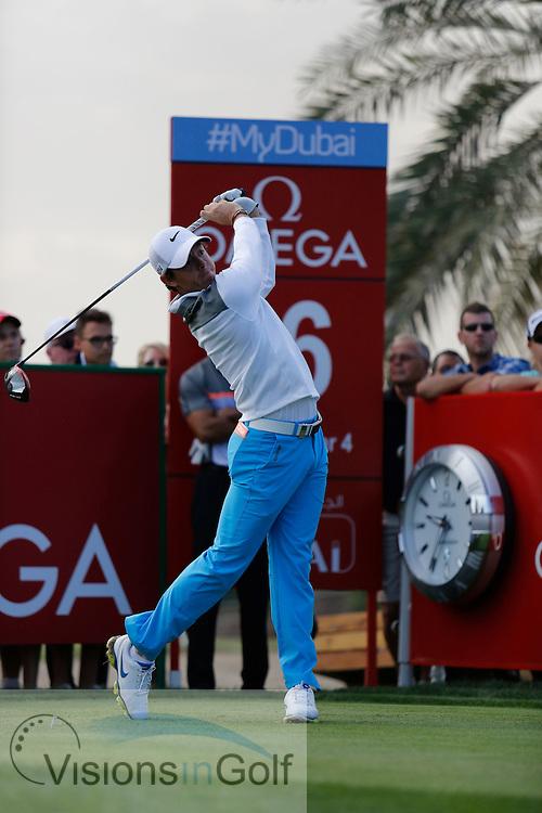 Rory McIlroy<br /> Omega Dubai Desert Classic, Emirates GC, UAE, January 2014<br /> Picture Credit:  Mark Newcombe / www.visionsingolf.com