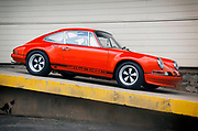 Image of a 1972 Tangerine Porsche 911 T/ST at Luftgekuhlt in San Pedro, California, America west coast