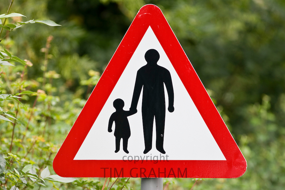 Pedestrians In Road Ahead warning sign by the road in Oxfordshire, United Kingdom