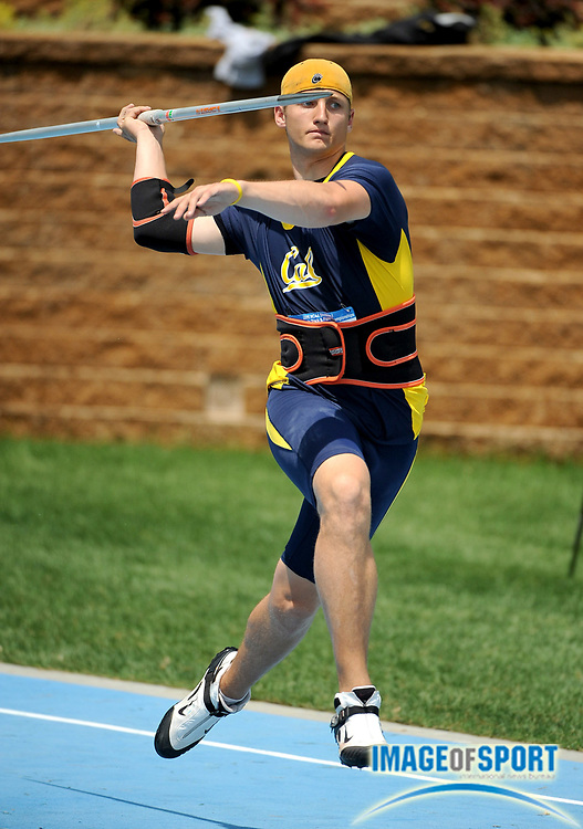 Jun 11, 2008; Des Moines, IA; Ryan Young of California threw 204-1 (62.20m) in the javelin preliminaries in the NCAA Track & Field Championships at Drake Stadium.