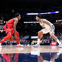01 November 2017: Denver Nuggets forward Wilson Chandler (21) defends on Toronto Raptors guard DeMar DeRozan (10) during the Denver Nuggets 129-111 victory over the Toronto Raptors, at the Pepsi Center, Denver, Colorado, USA.