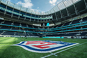 Tottenham Stadium get dressed up for the time in NFL colours during the NFL Media Day held at Tottenham Hotspur Stadium, London, United Kingdom on 2 July 2019.