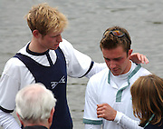 DAVID LIVINGSTONE OF CAMBRIDGE CONSOLES BEN SMITH OF CAMBRIDGE AFTER THE 149TH OXFORD CAMBRIDGE BOAT RACE.OXFORD BEAT CAMBRIDGE BY THE SHORTEST OF MARGINS,ONE FOOT.6.4.03.PIX STEVE BUTLER