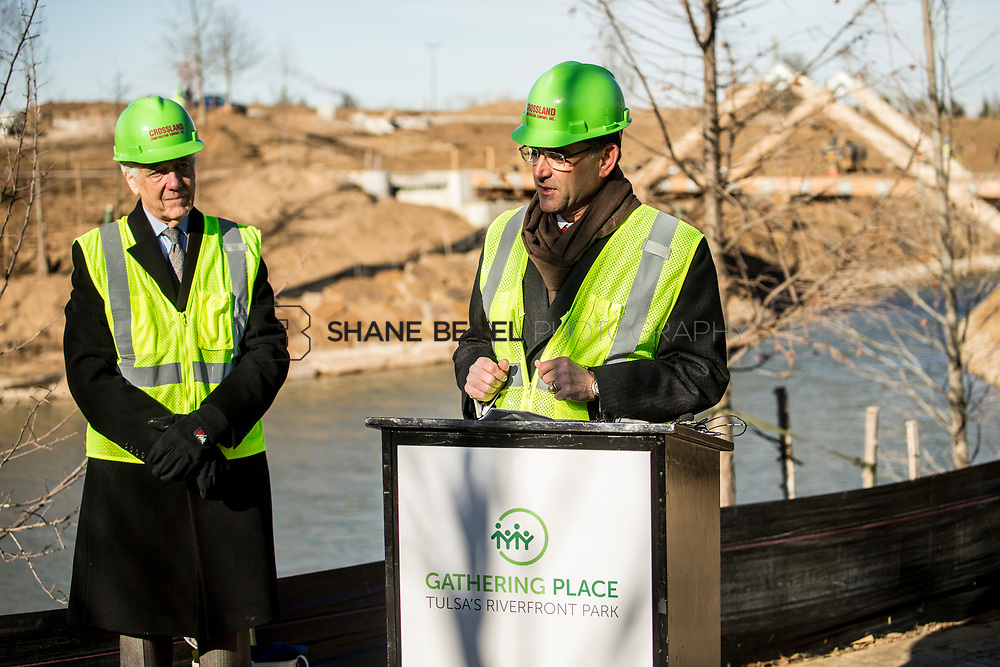 1/12/18 11:10:06 AM -- Halliburton CEO Jeff Miller and George Kaiser visit the Gathering Place for a press conference announcing Halliburton's support for the park. <br /> <br /> Photo by Shane Bevel