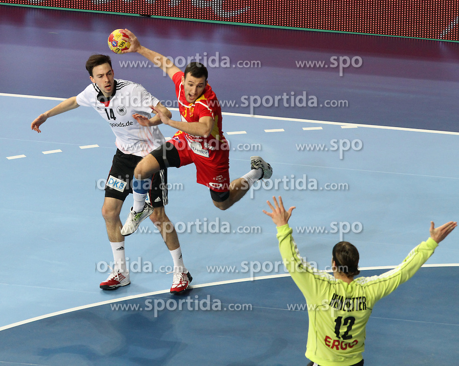 20.01.2013 Barcelona, Spain. IHF men's world championship, eighth.final. Picture show Dejan Manaskov  in action during game between Germany  vs FYRO Macedonia at Palau st Jordi / Sportida Photo Agency