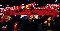 LIVERPOOL, ENGLAND - Saturday, January 30, 2016: Liverpool supporter with a 'This is Anfield' scarf before the FA Cup 4th Round match against West Ham United at Anfield. (Pic by David Rawcliffe/Propaganda)