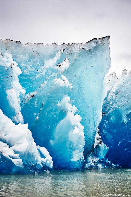 A close up view of the ice at Mendenhall Glacier near Juneau, Alaska.